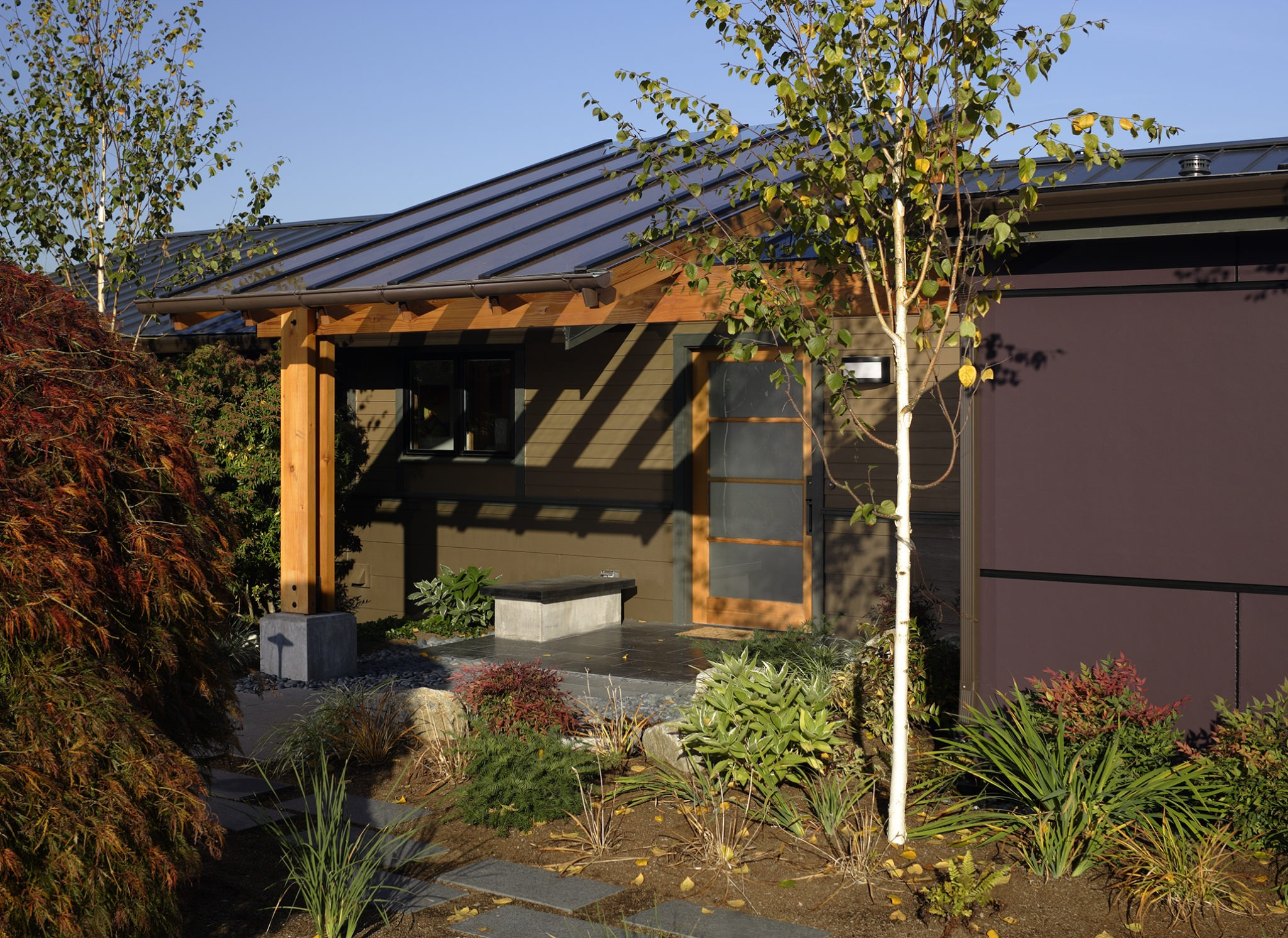 mid century makeover exterior entrance seattle home