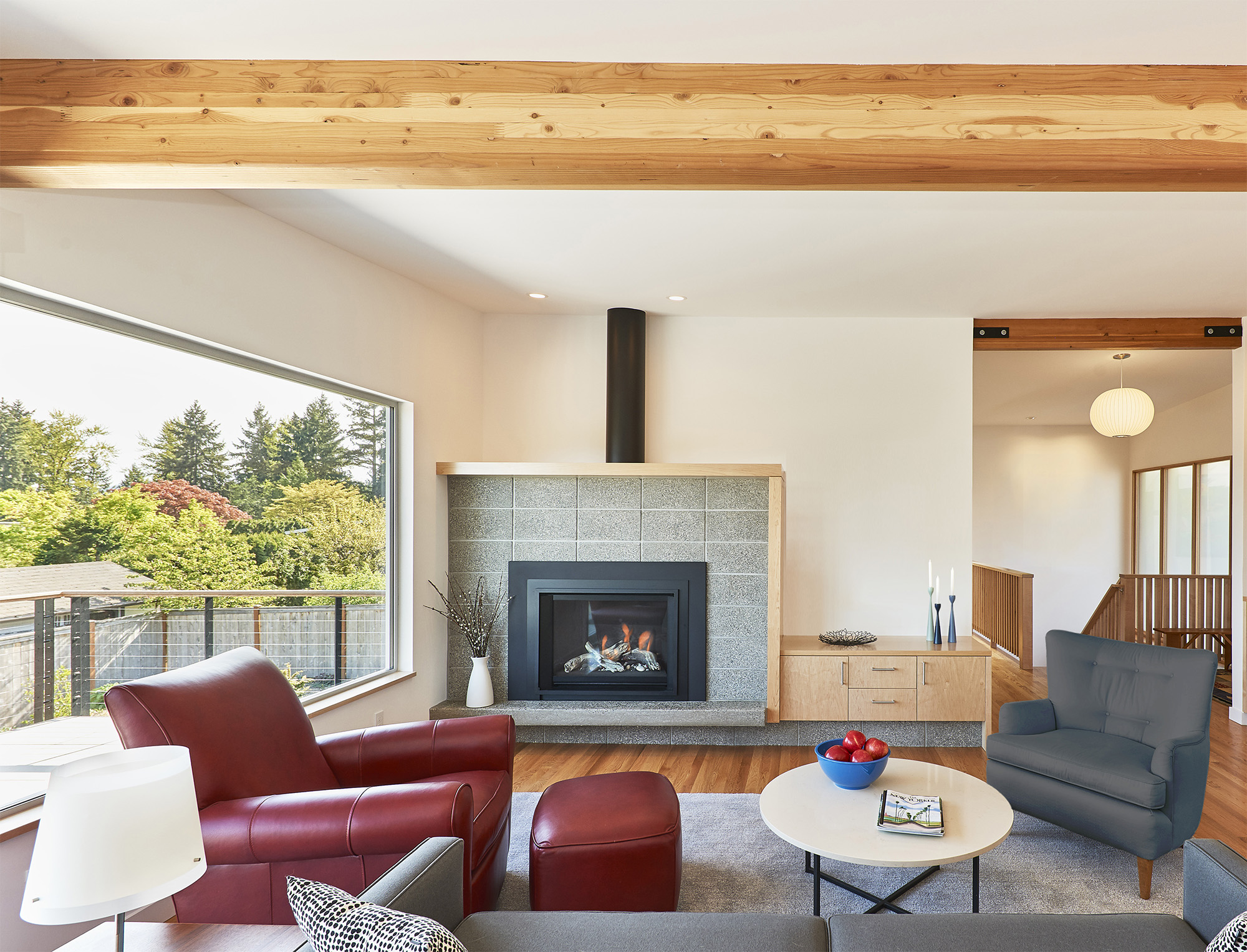 Mid-Century Rambler fireplace - Seattle Architects - CTA Design Builders - Mid-Century, Contemporary, Remodel, Transitional