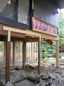 mid century modern addition under construction