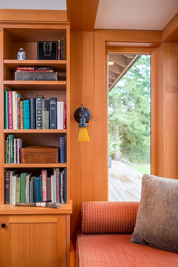 traditional craftsman bookcase nook window seat