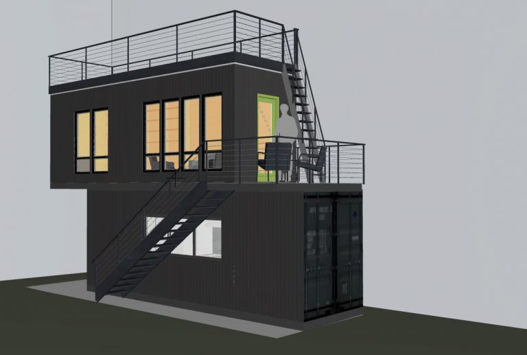 Seattle stacked shipping container office rendering