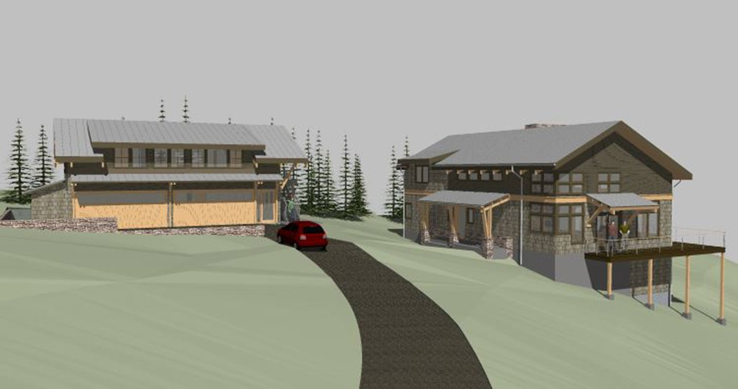 rendering of the Kingston WA Kitsap lodge in the woods garage and house