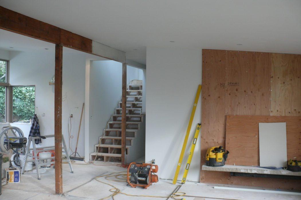 seattle mid century living room renovation in progress