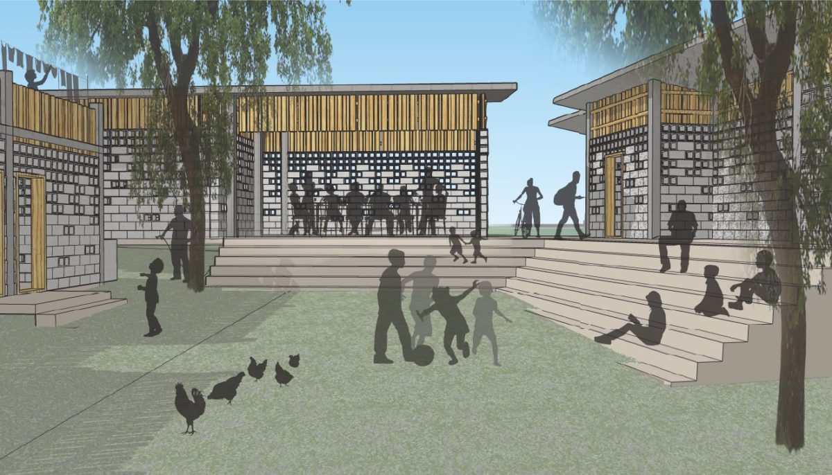 Courtyard rendering AWB Positive Action for Haiti presentation at CTA Design Builders