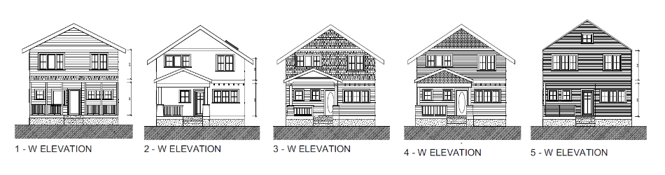 Elevation studies for a house currently under construction.
