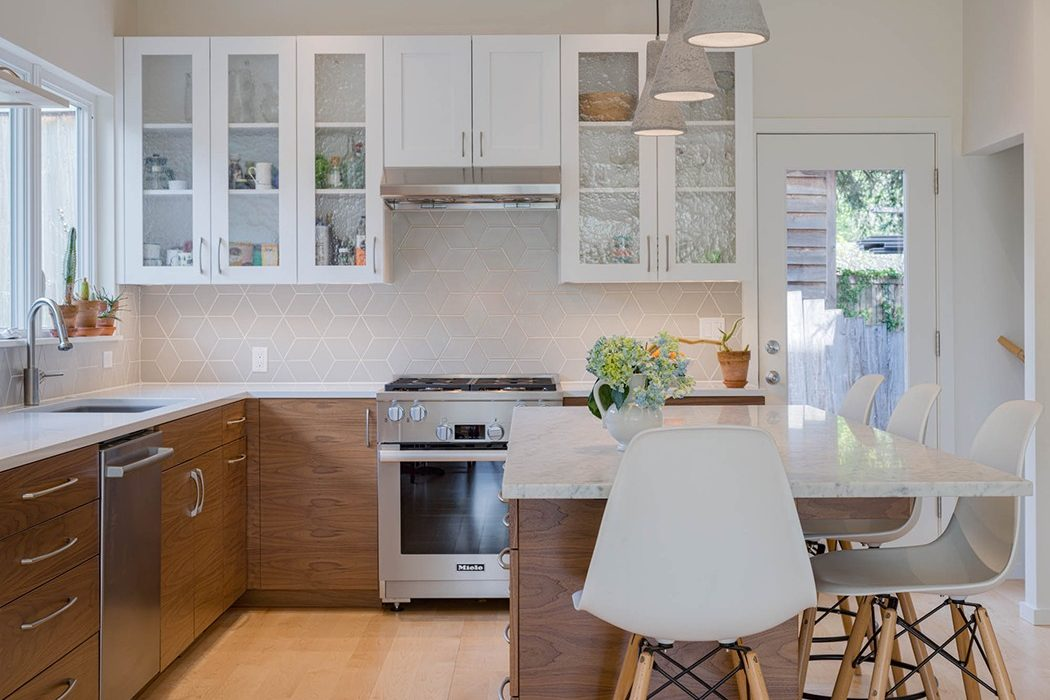 Day lit remodeled kitchen with island in the Urban Farmhouse, Wallingford, Seattle.