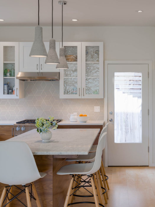 Pendants over central island in the Wallingford Urban Farmhouse kitchen remodel.
