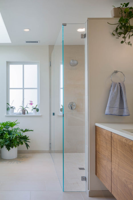 Master bath remodel with day lit wet room shower alcove in the Urban Farmhouse, Wallingford, Seattle.