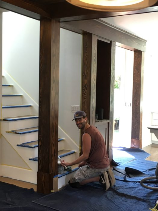 final touches on the stairs of a second story addition and whole house remodel in queen anne seattle