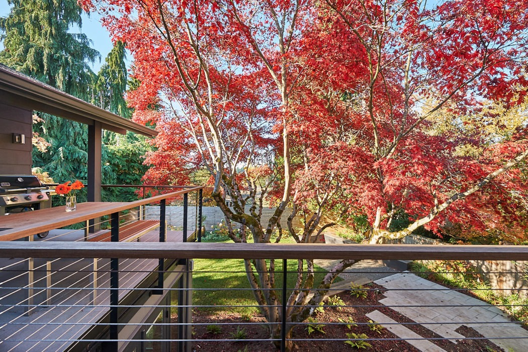Hawthorne Hills Home deck with Japanese Maple
