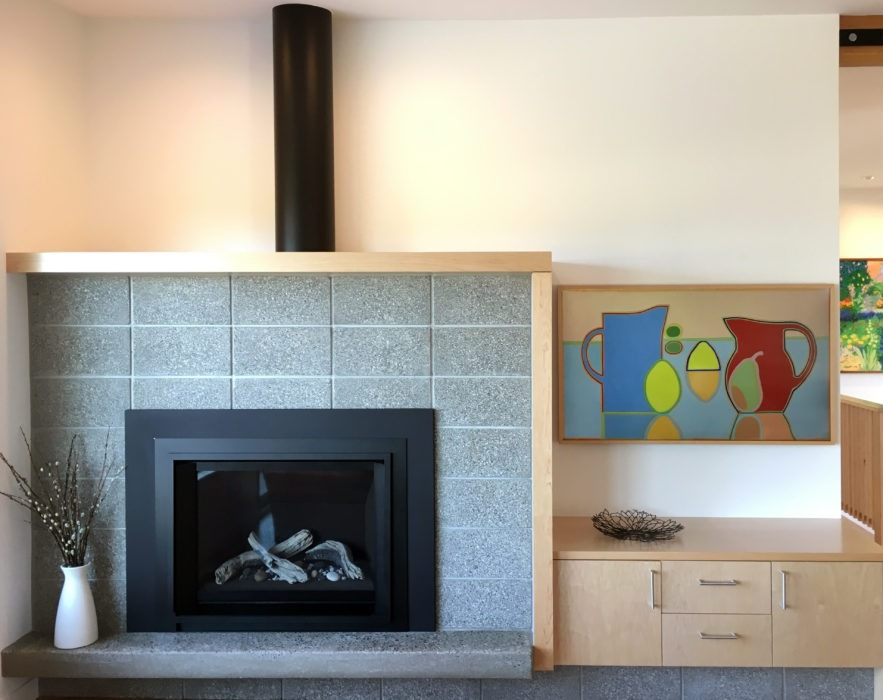 modern concrete block fireplace